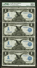 Large Size:Silver Certificates, Fr. 226a $1 1899 Silver Certificate PMG About Uncirculated 53 NetUncut Sheet.. ...