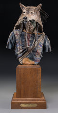 Bronze:American, Dave McGary (American, 1958-2013). Rain in the Face, 1990.Polychrome bronze with oak base. 11-1/4 (28.6 cm) high on a 8...
