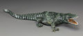 Paintings, A Georg Wild Carved Spinach Jade Alligator, 20th century. Marks: 9595, GW. 2-1/4 h x 3-1/2 w x 11 d inches (5.7 x 8.9 x ...