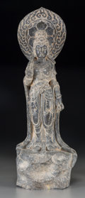 Asian:Other, A Chinese Carved Stone Figure of a Guanyin Mounted as a Lamp. 36inches high (91.4 cm) (overall, including hardware). PROP...