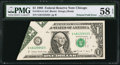 Error Notes:Foldovers, Fr. 1914-G $1 1988 Federal Reserve Note. PMG Choice About Unc 58EPQ.. ...