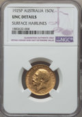 Australia, Australia: George V gold Sovereign 1925-P UNC Details (Surface Hairlines) NGC,...