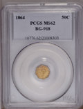 California Fractional Gold: , 1864 50C Liberty Octagonal 50 Cents, BG-918, R.4, MS62 PCGS. PCGSPopulation (18/19). (#10776)...