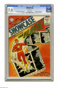 Silver Age (1956-1969):Superhero, Showcase #4 The Flash (DC, 1956) CGC FN/VF 7.0 Off-white pages. Here's the first appearance of that famous scarlet speedster...
