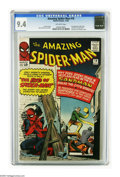 Silver Age (1956-1969):Superhero, The Amazing Spider-Man #18 (Marvel, 1964) CGC NM 9.4 Off-whitepages. A real threat confronted our hero here, and no, we don...