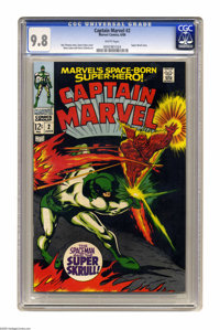 Captain Marvel #2 (Marvel, 1968) CGC NM/MT 9.8 White pages. Gene Colan wasn't known for drawing cosmic adventures, but w...