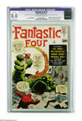 Silver Age (1956-1969):Superhero, Fantastic Four #1 (Marvel, 1961) CGC Apparent VF 8.0 Moderate (P)Off-white to white pages. Check out this gorgeous copy of ...
