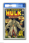 Silver Age (1956-1969):Superhero, The Incredible Hulk #1 (Marvel, 1962) CGC FN+ 6.5 Off-white towhite pages. Marvel's Big Mean Green Guy looks a little... gr...