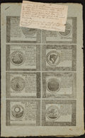 Colonial Notes:Continental Congress Issues, Continental Currency September 26, 1778$60-$50-$40-$30-$20-$8-$7-$5 Two Blue Counterfeit Detector UncutHalf Sheets Extremely... (Total: 2 sheets)