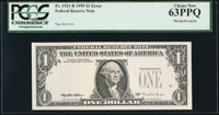 Fr. 1921-B $1 1995 Federal Reserve Note. PCGS Choice New 63PPQ