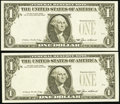 Error Notes:Third Printing on Reverse, Fr. 1913-E $1 1985 Federal Reserve Notes. Two Consecutive Examples. Very Choice Crisp Uncirculated.. ... (Total: 2 notes)