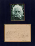 Paintings, A Handwritten and Signed Letter by Albert Einstein, 1919 . 5 x 7-3/4 inches (12.7 x 19.7 cm) (sight). ...