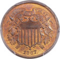 Two Cent Pieces, 1867 2C Doubled Die Obverse, FS-101, MS66 Red and Brown PCGS Secure....