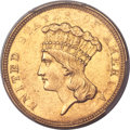 Three Dollar Gold Pieces, 1854-O $3 AU58 PCGS. CAC....