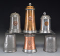 Paintings, A Group of Six Harvard Club Related Pewter and Copper Steins and Mugs, late 19th/20th century. Marks: (various marks). 9 inc... (Total: 6 Items)