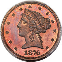 1876 $5 Five Dollar, Judd-1484, Pollock-1637, R.7, PR66 Red and Brown PCGS. CAC....(PCGS# 71806)