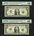 Error Notes:Major Errors, Fr. 1909-J $1 1977 Federal Reserve Notes. Two Examples. PMG GemUncirculated 65 EPQ.. ... (Total: 2 notes)