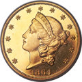 Proof Liberty Double Eagles, 1864 $20 PR64+ Cameo PCGS Secure. CAC....