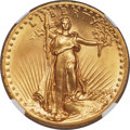 High Relief Double Eagles, 1907 $20 High Relief, Flat Rim, MS64 NGC....
