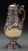 Silver Holloware, Continental:Holloware, A German Silver and Ostrich Egg Figural Ewer, 19th century. Marks:(tree), PP. 11-5/8 inches high (29.5 cm). 35.2 ounces...