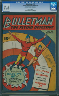 Bulletman #15 - FROM THE ESTATE OF LLOYD JACQUET (Fawcett Publications, 1946) CGC VF- 7.5 Light tan to off-white pages...