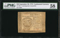 Colonial Notes:Continental Congress Issues, Continental Currency September 26, 1778 $50 ContemporaryCounterfeit PMG Choice About Unc 58.. ...