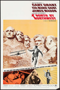 """North by Northwest (MGM, R-1966). One Sheet (27"""" X 41"""") & Uncut Pressbook (8 Pages, 12.25"""" X 17""""..."""