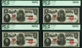 Large Size:Legal Tender Notes, Fr. 91 $5 1907 Legal Tender Cut Sheet of Four, All PCGS Choice About New 58PPQ.. ... (Total: 4 notes)
