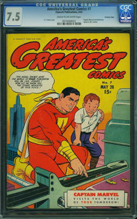 America's Greatest Comics #7 - CROWLEY PEDIGREE (Fawcett Publications, 1943) CGC VF- 7.5 Cream to off-white pages