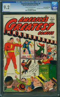America's Greatest Comics #8 - Crowley Copy (Fawcett Publications, 1943) CGC NM- 9.2 Cream to off-white pages