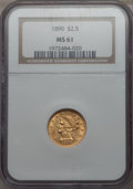 Liberty Quarter Eagles: , 1890 $2 1/2 MS61 NGC. NGC Census: (55/88). PCGS Population: (33/108). Mintage 8,720. ...