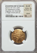 Ancients:Byzantine, Ancients: John III Ducas-Vatatzes, Emperor of Nicaea (1222-1254).AV hyperpyron (3.03 gm). NGC Choice XF 4/5 - 3/5, clipped....
