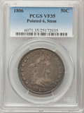 Early Half Dollars: , 1806 50C Pointed 6, Stem, VF35 PCGS. PCGS Population: (120/439).NGC Census: (66/479). Mintage 839,576. ...