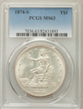 Trade Dollars: , 1874-S T$1 MS63 PCGS. PCGS Population: (65/33). NGC Census: (30/23). CDN: $1,650 Whsle. Bid for NGC/PCGS MS63. Mintage 2,54...