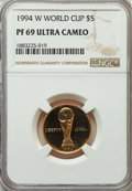 Modern Issues, 1994-W $5 World Cup Gold Five Dollar PR70 Ultra Cameo NGC. NGC Census: (1480/658). PCGS Population: (3584/109). CDN: $340 W...