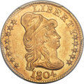 Early Half Eagles, 1804 $5 Small Over Large 8, BD-6, R.5, MS61 PCGS....