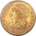 Early Half Eagles, 1810 $5 Large Date, Large 5, BD-4, R.2, MS64 PCGS....