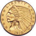 Proof Indian Quarter Eagles, 1910 $2 1/2 PR67 NGC....