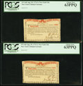 Colonial Notes:New York, New York August 25, 1774 (Water Works) Consecutive 1s Pair PCGS Choice New 63PPQ.. ... (Total: 2 notes)
