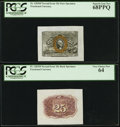 Fr. 1283SP 25¢ Second Issue Wide Margin Pair PCGS Superb Gem New 68PPQ and PCGS Very Choice New 64