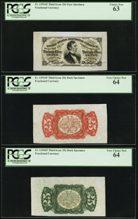 Fr. 1291SP 25¢ Third Issue Wide Margin Set of Three PCGS Very Choice New 64, 64, and Choice New 63