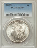 Morgan Dollars: , 1882-S $1 MS65+ PCGS. PCGS Population: (18426/5871). NGC Census: (18959/8325). CDN: $150 Whsle. Bid for problem-free NGC/PC...
