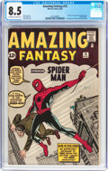 Silver Age (1956-1969):Superhero, Amazing Fantasy #15 (Marvel, 1962) CGC VF+ 8.5 Off-white to whitepages....