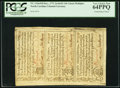 Colonial Notes:North Carolina, North Carolina December, 1771 2s/6d-£1-10s Uncut Vertical Strip of Three PCGS Very Choice New 64PPQ.. ...