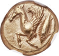 Ancients:Greek, Ancients: MYSIA. Cyzicus. Ca. 500-450 BC. EL sixth stater of hecte(11mm, 2.72 gm). NGC Choice AU ★ 5/5 - 5...