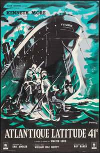 "A Night to Remember (Eclair Journal, 1959). French Half Grande (30.25"" X 47""). Drama"