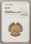 Indian Half Eagles: , 1912-S $5 AU50 NGC. NGC Census: (62/1388). PCGS Population: (101/653). CDN: $525 Whsle. Bid for problem-free NGC/PCGS AU50....
