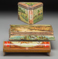 Decorative Arts, British:Other , A Group of Three Huntley & Palmers Sports Motif Biscuit Tins,first half 20th century. 2-1/2 h x 9-5/8 w x 5-7/8 d inches (6...(Total: 3 Items)