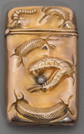 Silver Smalls:Match Safes, An American Gold and Diamond Snake Motif Match Safe, circa 1900.2-3/8 inches high (6.0 cm). 0.72 troy ounce. FROM THE EST...