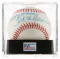 Baseball Collectibles:Balls, Ted Williams Single Signed Baseball With Happy Holidays Inscription, PSA NM-MT 8....